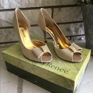 NIB J.Renee Skylar Gold Heels 7.5